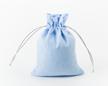 Мешочек из голубой фланели 15×12 см, дизайн №5 с серебряными шнурами