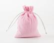 Мешочек из розовой фланели 15×12 см, дизайн №5 с серебряными шнурами
